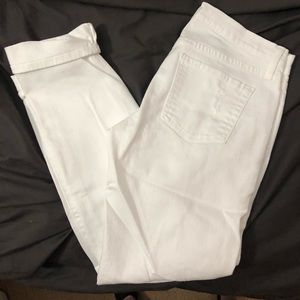 White Ripped Ankle Length Jeans